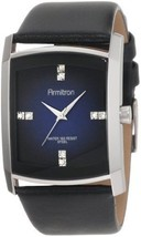 Armitron Men's Crystal Accented Gray Degrade Black Leather Strap Watch W... - $33.99