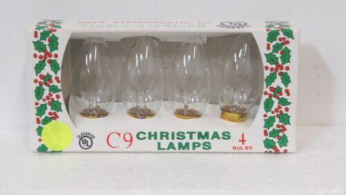 J Hofert 1435 Clear C9 Northern Lights Christmas Lamps 4 Bulbs Packaged