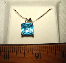 VTG 925 STERLING SILVER MOD BLUE TOPAZ PENDANT NECKLACE HEART DANGLE EAR... - $137.99