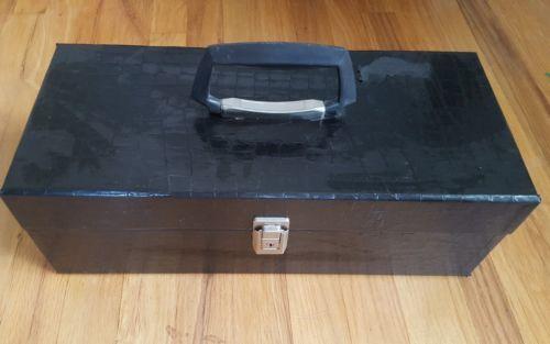 Vintage Black Faux Alligator Audio Cassette Tape Carry Storage Case, Holds 24