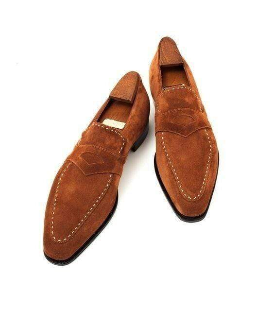 Handmade Men's Brown Suede Slip Ons Loafer Shoes