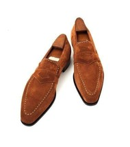 Handmade Men's Brown Suede Slip Ons Loafer Shoes image 1