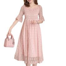 Maternity Dress Slash Neck Short Flare Sleeve Slim Fit Tulle Midi Dress - $38.99