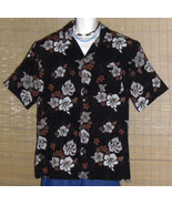 George Hawaiian Shirt Black with gray and white Hibiscus and Red flowers XL - $14.95