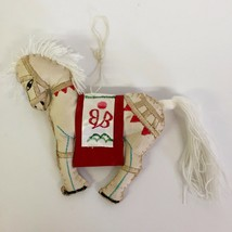 Vintage White Horse Christmas Ornament Handcrafted Embroidery Yarn Mane ... - $20.55