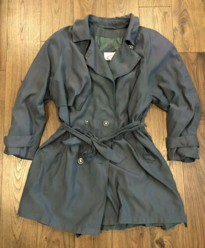 Primary image for Jacqueline Ferrar Green Vintage Trench Coat Jacket Belted Sz 18 XL