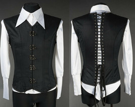 Black Cotton Victorian Vest Corset Lace Up Back Clasps V Shape Goth Male... - $105.41