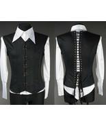 Black Cotton Victorian Vest Corset Lace Up Back Clasps V Shape Goth Male... - $105.41