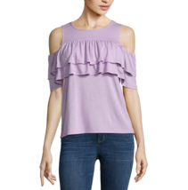 a.n.a Double Ruffle Cold Shoulder Top Size L New Purple Lupine - $14.99