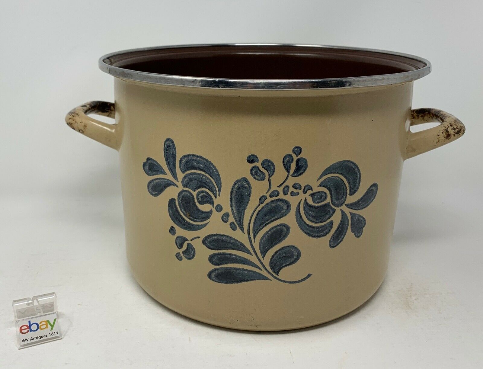 "Primary image for Pfaltzgraff USA ""Folk Art"" Enamel Cook Pot / Cooker / Stove Top - Used, No Lid"