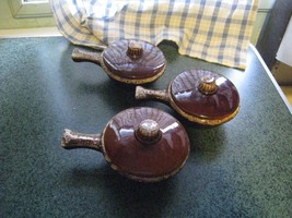 Hull oven proof vintage brown dripware onion soup bowls w/ lids (3) FREE... - $33.63
