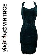 Vintage Dress Velvet Bodycon Mini 90s Minidress 1990s Green Halter Size ... - $44.32