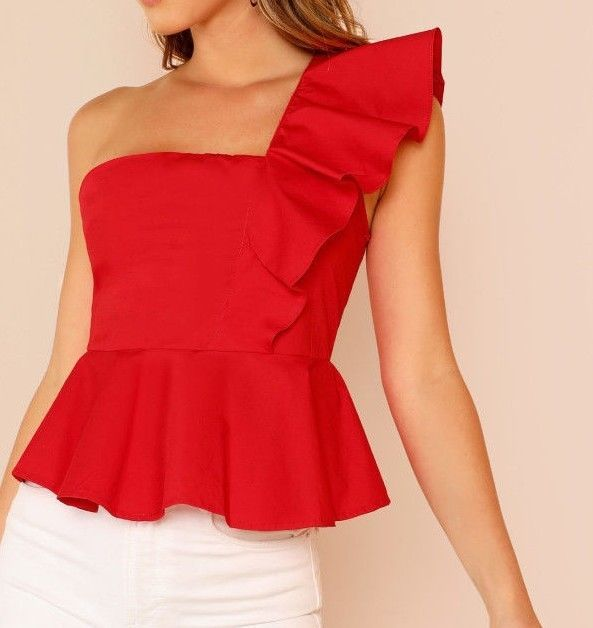 RED Ruffle Trim One Shoulder Peplum Top Weekend Casual Sleeveless Blouse Cotton