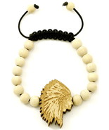 Chief New Natural Good Wood Style Bracelet Adjustable Macrame With 10mm ... - $10.95