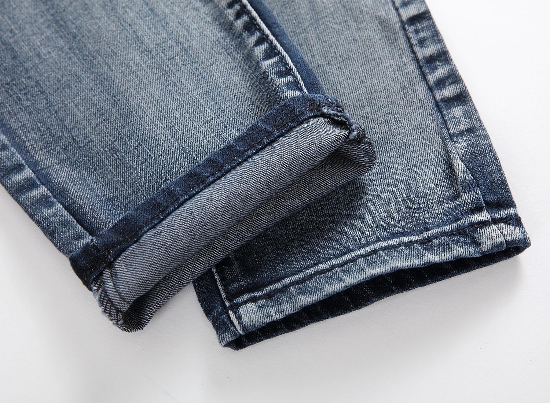 Men's knee patch holes painted Old blue gray print denim trousers retro design j