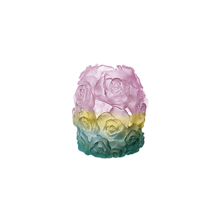 Daum Vase Green & Pink Candle Holder Rose Passion h 17cm / 6.69 in. France - $1,740.00