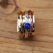 Sell !!1 PC.Lapis Lazuli Gemstone 925 Sterling Silver Meditation Spin Ri... - $19.88