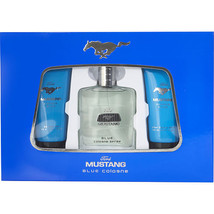 Mustang Blue By Estee Lauder Cologne Spray 3.4 Oz & Aftershave Balm 3.4 Oz & Sho - $26.87