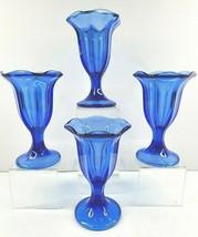 4 Anchor Hocking Cobalt Blue Glass Fountainware Sundae Parfait Tall Glas... - $39.27