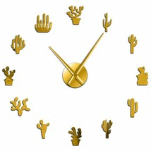 Cactus Plant Large DIY Wall Clock Desert Mexican Style Frameless Mirror ... - $36.38+