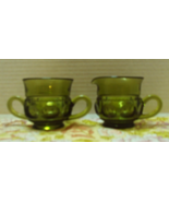 Vintage INDIANA GLASS Kings Crown Green Glass Sugar Bowl With Creamer Set - $12.00