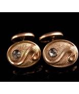 Antique cufflinks / victorian nouveau set / gold groom cufflinks / weddi... - $165.00