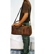 Medium Brown Men Luggage Leather Travel Shoulder Bags Duffle Gym Bags To... - $59.65+