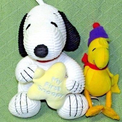 BABY SNOOPY Musical Plush Ribbed Doll MY FIRST SNOOPY & Woodstock Rattle Infant