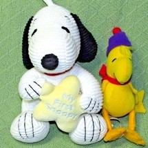 BABY SNOOPY Musical Plush Ribbed Doll MY FIRST SNOOPY & Woodstock Rattle... - $23.38