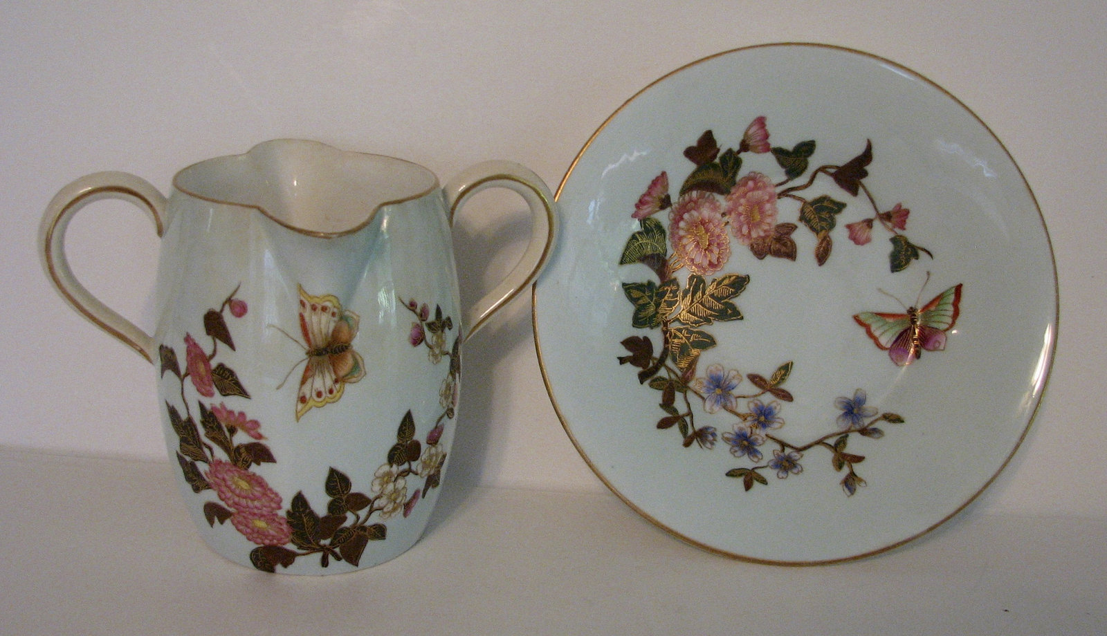 Antique Royal Worcester Creamer and Underplate 1800s