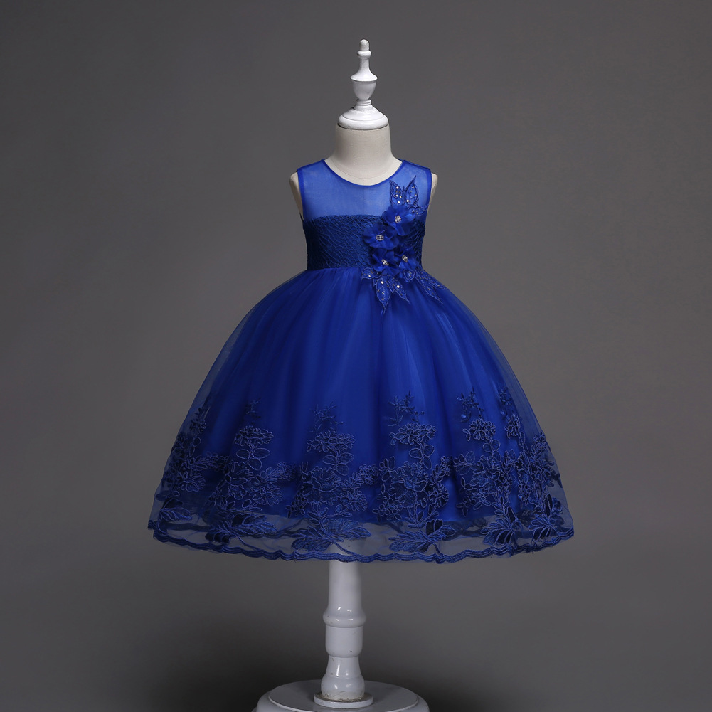 Little Girl Royal Blue Lace Pricess Flower Dress Ball Gowns 2018 Formal Gowns