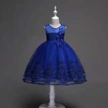 Little Girl Royal Blue Lace Pricess Flower Dress Ball Gowns 2018 Formal Gowns  image 2