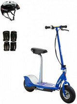 Razor E300S Seated Electric Scooter (Blue) With Helmet, Elbow and Knee Pads - $374.95