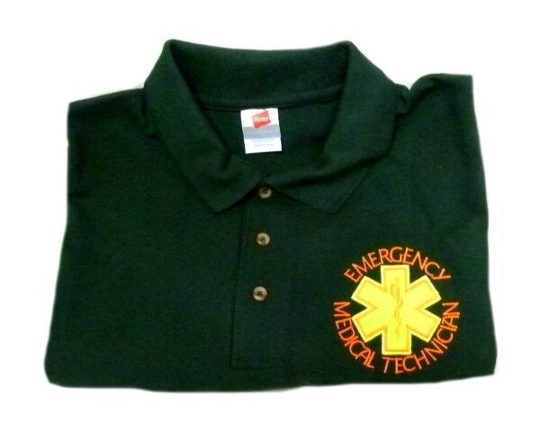 EMT Polo Shirt Emergency Medical Technician 2XL Star of Life Hunter Green S/S
