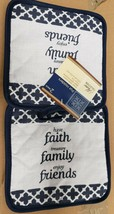 "2 Same Printed Kitchen Pot Holders (7""x 7') FAITH FAMILY FRIENDS, blue b... - $7.91"