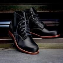 Handmade Men Hunter Cap Toe Denim Casual Boots Black Ankle Boots Lace up... - $3.193,55 MXN