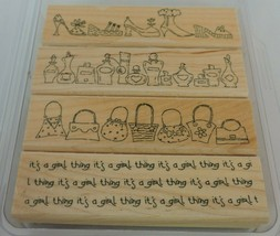Stampin Up It's a Girl Thing Mounted Stamp Set 4 Fashion Purses Shoes Pe... - $9.90