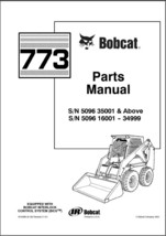 Bobcat 773 Skid Steer Loader Parts Manual on a CD - $12.00