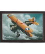 """4"""" X 6"""" Wooden Plaque with a Print of a Boeing P-12E WWI Pursuit aircraft . - $7.87"""