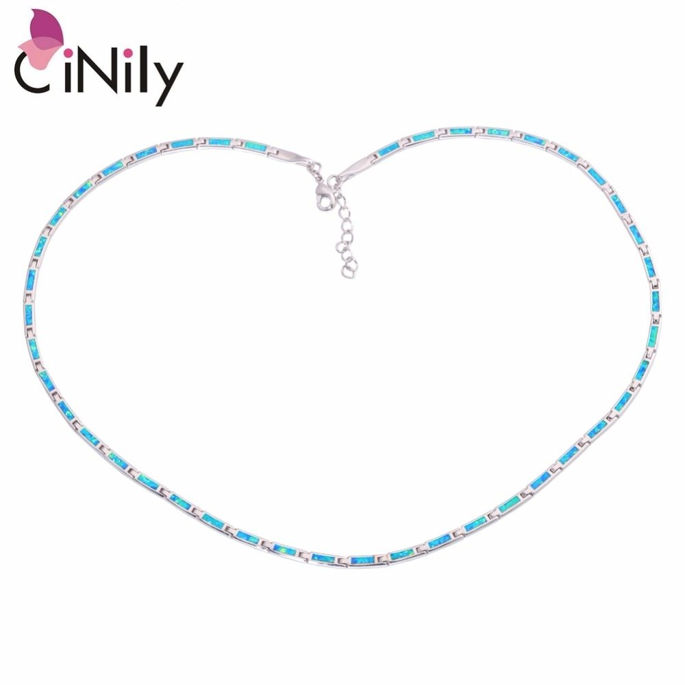 Ocean Blue Fire Opal Chains Necklaces Silver Plated Adjustable Long & Chokers Ne