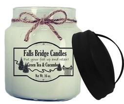 Green Tea & Cucumber Scented Jar Candle, 16-Ounce, Handle Lid - $11.00