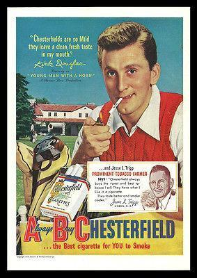 Primary image for Chesterfield Cigarette AD 1950 Kirk Douglas Golfing ABC Collectible Advertising