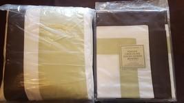 "Restoration Hardware ""Chocolate Edged"" Celery California King Duvet & Sh... - $149.95"