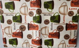 "Flannel Back Vinyl Tablecloth 52"" X 104"" (8-10 Ppl) Coffee Types By Ap - $17.81"