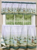 "Curtains Set: 2 Tiers & Valance (58""x13"") NAUTICAL, LIGHTHOUSES, HAMPTON... - $21.77"