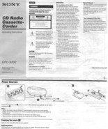 Sony CFD-S300 CD Radio Cassette-corder AM / FM Stereo Boombox User Manua... - $7.91