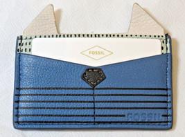 Fossil SL7424484 Card Case PL Cornflower Leather mini ID holder blue green NWT*^ - $28.50