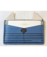 Fossil SL7424484 Card Case PL Cornflower Leather mini ID holder blue gre... - $28.50