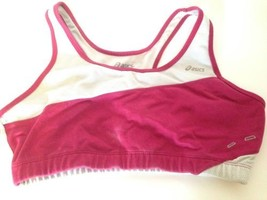 Asics Fucsia and Gray Two Layer Racer Back Sport Bra Top L - $9.75