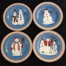 "Sakura Debbie Mumm Snowman Set of 4 Salad Dessert Luncheon Plates 8"" - $29.69"